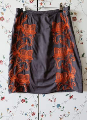 Monsoon Pencil Skirt anthracite-neon orange cotton