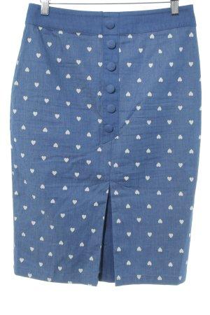 Bleistiftrock stahlblau Monogram-Muster Street-Fashion-Look