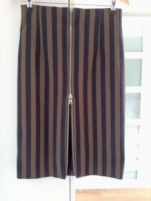 Bleistiftrock von Zara, olivgrün/dunkelblau, Gr. S