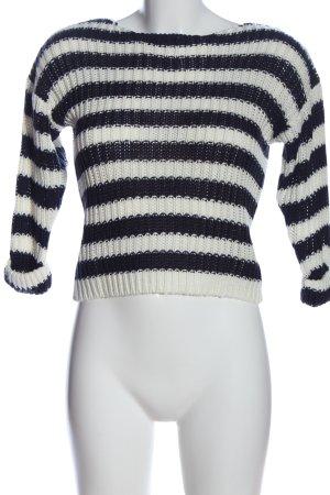 Blend Pullover all'uncinetto bianco-nero stampa integrale stile casual