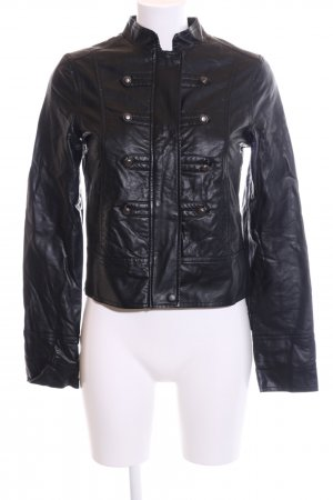 Blend Faux Leather Jacket black casual look