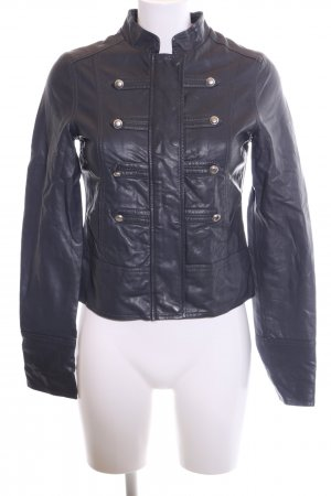 Blend Faux Leather Jacket blue casual look