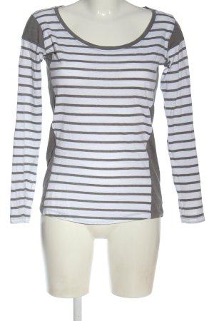 Blend She Top à manches longues blanc-gris clair motif rayé