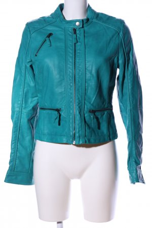 BlendShe Faux Leather Jacket turquoise casual look