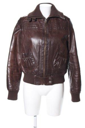 BlendShe Leather Jacket brown wet-look