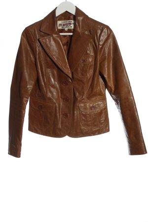 BlendShe Skórzana kurtka brązowy Elegancki