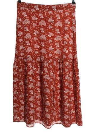 BlendShe Midi-rok rood-wit volledige print casual uitstraling