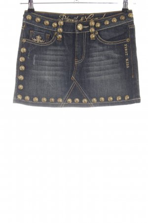Blessed & Cursed Jeansrock blau-goldfarben Glanz-Optik
