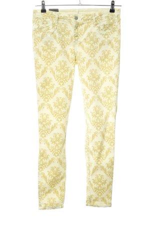 BleuLab Skinny Jeans blassgelb-wollweiß abstraktes Muster Casual-Look