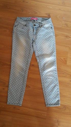 Blind Date 7/8 Jeans, hellblau mit weißen Punkten, Gr. 34
