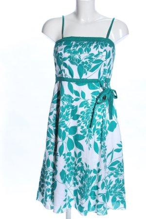 Blind Date A-Linien Kleid türkis-weiß Blumenmuster Casual-Look