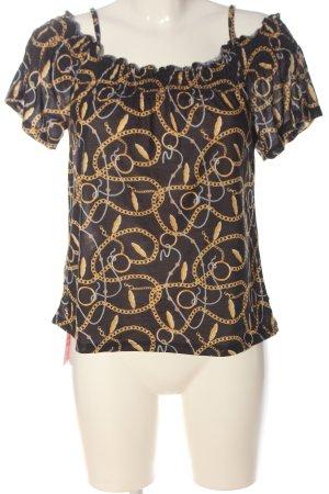 Blind Date Carmen shirt zwart-licht Oranje prints met een thema
