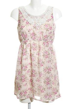 Blind Date Chiffonkleid pink-creme Blumenmuster Casual-Look