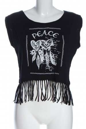 Blind Date Camicia cropped nero-bianco Stampa a tema stile casual