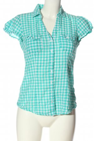 Blind Date Short Sleeve Shirt turquoise-white check pattern casual look