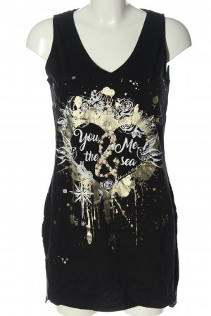Blind Date Long Top black-gold-colored printed lettering casual look