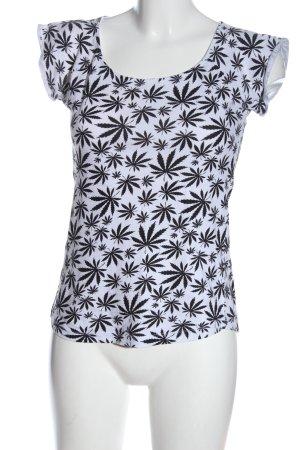 Blind Date Camicia fantasia bianco-nero stampa integrale stile casual