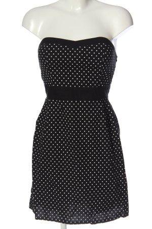 Blind Date schulterfreies Kleid schwarz-weiß Punktemuster Casual-Look