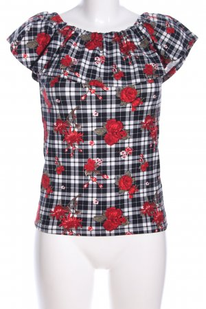 Blind Date Kurzarm-Bluse Allover-Druck Casual-Look
