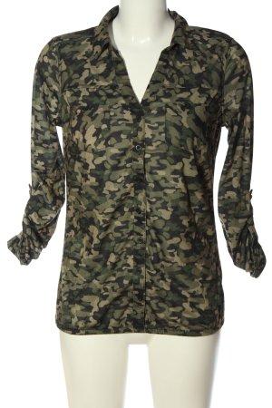 Blind Date Camicia maglia cachi-nero stampa integrale stile casual