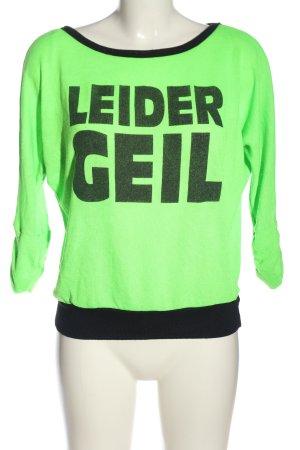 Blind Date Strickshirt grün-schwarz Schriftzug gedruckt Casual-Look