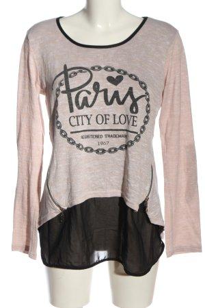 Blind Date Gebreid shirt roze-zwart gedrukte letters casual uitstraling