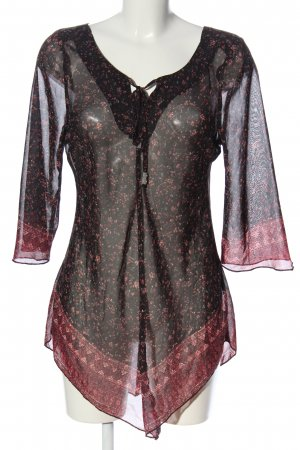 Blind Date Blusa trasparente nero-rosa motivo floreale stile casual