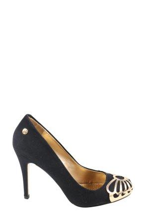 Blink High Heels schwarz-goldfarben Glanz-Optik