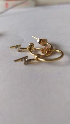 Złote kolczyki srebrny-złoto