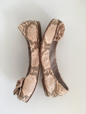 Bloch 36 1/2 36,5 Peeptoe Perp Toe Ballerina elastisch Leder Animalprint Animal Schlange danke rosa Lachs apricot rose Sand beige Blume Designer Luxus