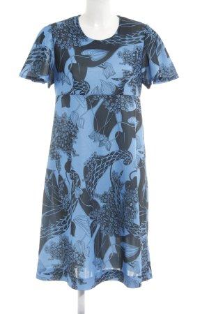 Bloch Robe trapèze bleu fluo-noir motif abstrait style décontracté