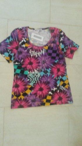 BLOGGER - angesagtes NEON super weiches Strass Glitzer T Shirt Print Batik Oberteil Top Bluse - IMAGINI -Gr M
