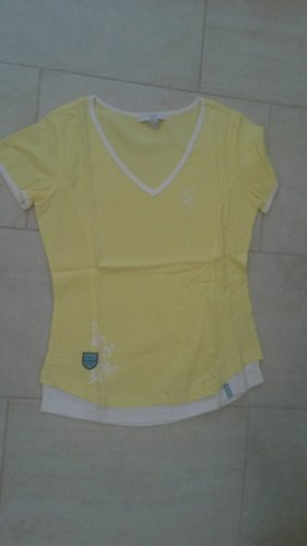 Batik Shirt yellow-white cotton