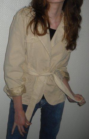 Blogger Blazer Jacke creme nude h m Longjacke Bindegürtel Baumwolle Safari Look