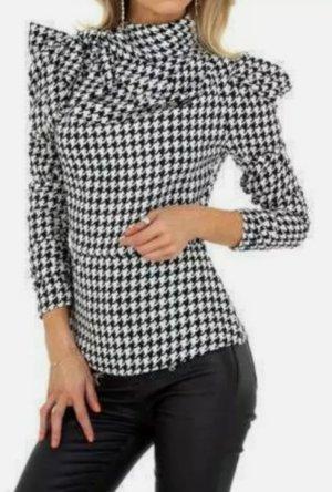 WHITE ICY Geruite blouse wit-zwart