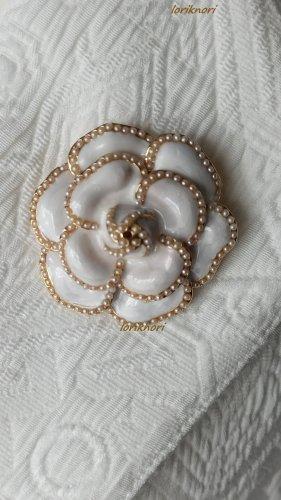 Blogger Brosche Rose Blume Grau weiß Perlen Gold Anstecknadel NEU