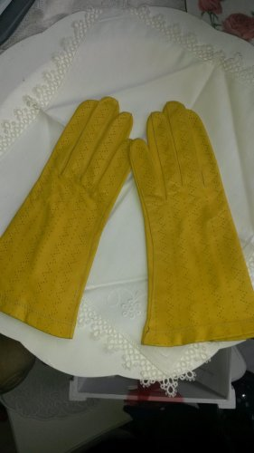Leather Gloves yellow-neon yellow leather
