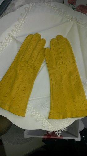 Guantes de cuero amarillo-amarillo neón Cuero