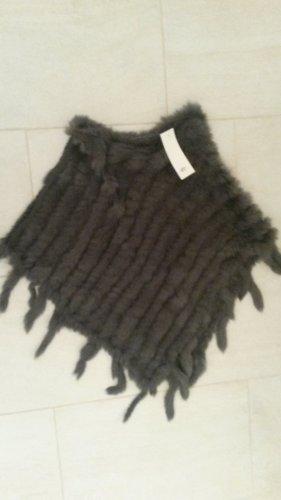 Ambiente Knitted Poncho grey-dark grey