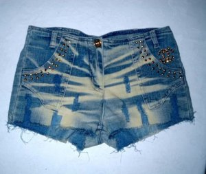 Blogger Jeans Hot Pants Hose kurz Shorts h m blau Nieten gold 36 38 S M Hotpants