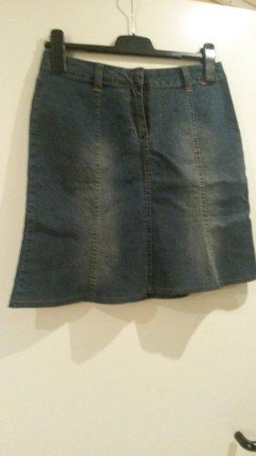 BLOGGER !! Jeans Mini Rock Röckchen Blue Denim romantisch Boho ausgestellt A Linie Gr S 38 ev 36