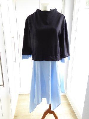 Zara Woman Flounce Dress dark blue-azure cotton