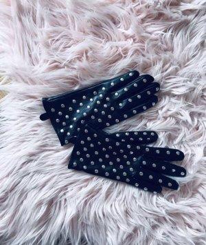 Zara Guantes de cuero de imitación negro
