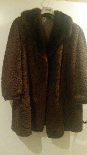 BLOGGER PERSIANER Pelz Fell Pelzmantel Coat Swinger NERZ Kragen Vintage Shabby -Gr XL XXL