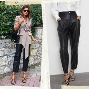 Blogger piece Zara High Waist Kunstleder Hose Paperback Gr. 39 neu Trend begehrt