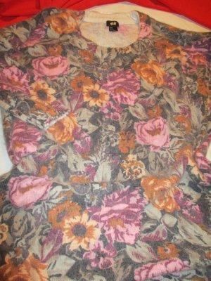 Blogger Pullover Mohair/Wolle/Tierhaar Pulli Langarm Longpulli Longpullover Winterpullover warm weich lange Form Blumen Blüten Motiv florales Muster 34 36 XS S wie NEU