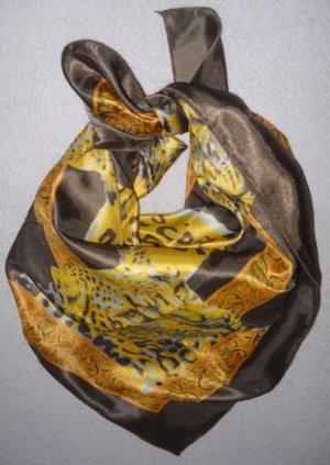 Blogger Schal Tuch seidig glänzend Leo Leopard Tiger Animal Vintage gold braun NEU ungetragen H M IN