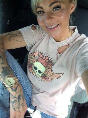 ⋙•-•-•-•➤Blogger Shirt Totenkopf Rockabilly T-Shirt Cut out Risse 34-38