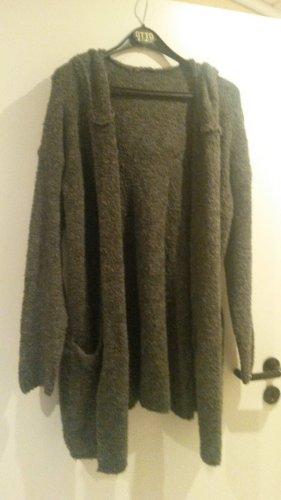 Abrigo de punto gris-gris oscuro