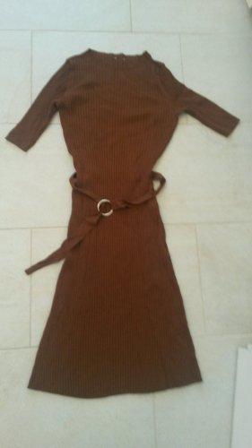 BLOGGER !! super weiches Herbst Winter Strickkleid Rippen Strech Kleid braun - NEUWERTIG  - Gr. S - M
